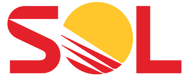 Sol yrityksen logo, keltapunaisella tekstillä.